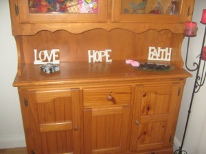 "Walk into our house ""Love"" ""Hope"" ""Faith"""